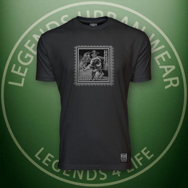Legends Buffalo Soldiers Men's Black Premium Tee Front
