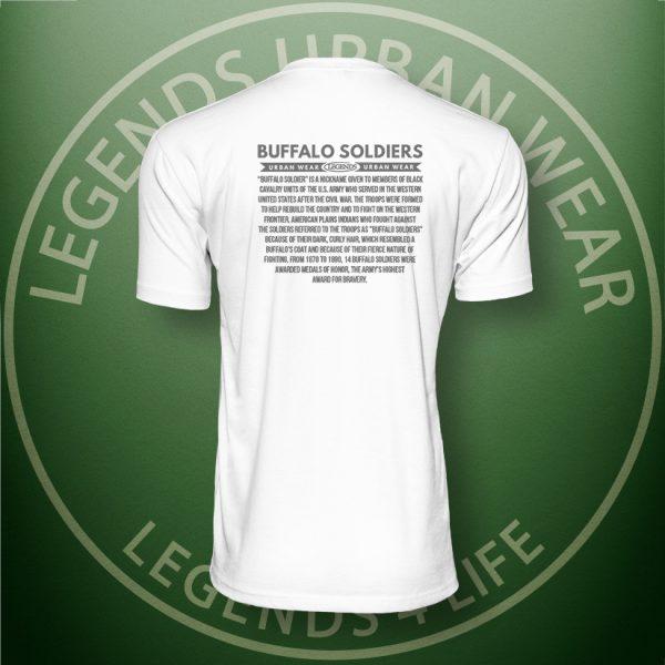 Legends Buffalo Soldiers Men's White Premium Tee Back
